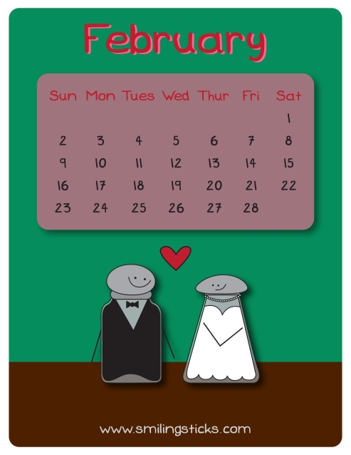 February Freebie Calendar Smiling Sticks